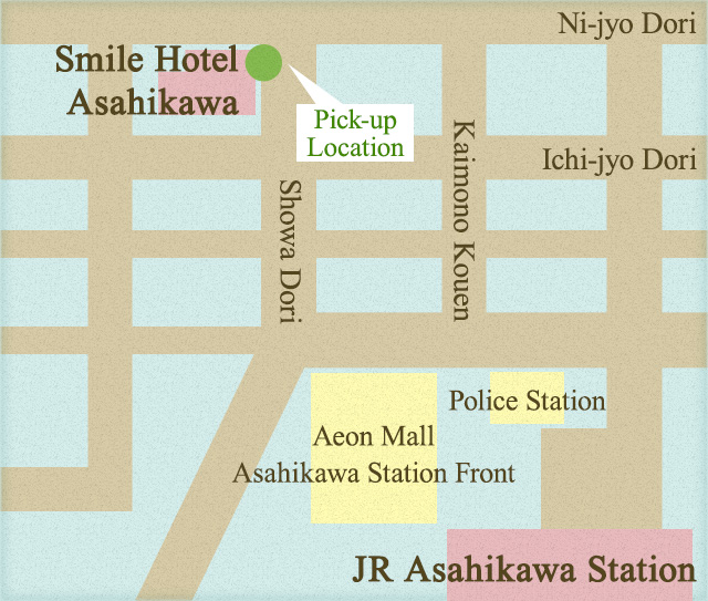 Asahiyama Zoo (East gate) ⇔ Choyotei(Free) MAP
