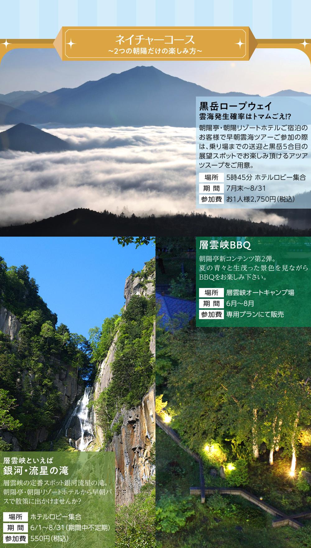 黒岳ロープウェイ 雲海発生率はトマムごえ!? 層雲峡でBBQ 層雲峡といえば銀河・流星の滝